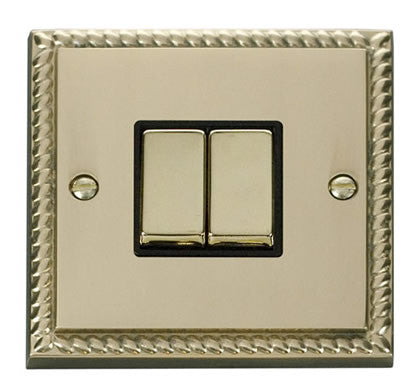 Georgian Cast Brass 10A 2 Gang 2 Way Ingot Light Switch - Black Trim