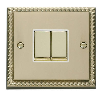 Georgian Cast Brass 10A 2 Gang 2 Way Ingot Light Switch - White Trim
