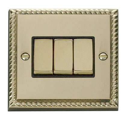Georgian Cast Brass 10A 3 Gang 2 Way Ingot Light Switch - Black Trim