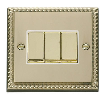 Georgian Cast Brass 10A 3 Gang 2 Way Ingot Light Switch - White Trim