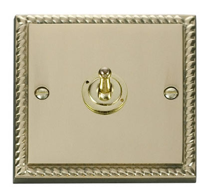 Georgian Cast Brass 1 Gang 2 Way 10AX Toggle Light Switch
