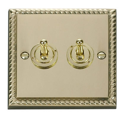 Georgian Cast Brass 2 Gang 2 Way 10AX Toggle Light Switch