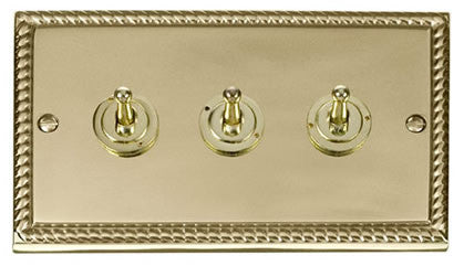 Georgian Cast Brass 3 Gang 2 Way 10AX Toggle Light Switch