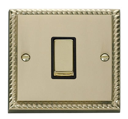 Georgian Cast Brass 10A 1 Gang Intermediate Ingot Light Switch - Black Trim