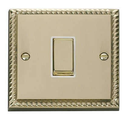 Georgian Cast Brass 10A 1 Gang Intermediate Ingot Light Switch - White Trim