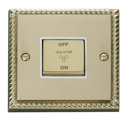 Georgian Cast Brass 10A 1 Gang Ingot 3 Pole Fan Isolation Switch - White Trim