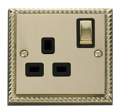 Georgian Cast Brass 1 Gang 13A DP Ingot Switched Plug Socket - Black Trim