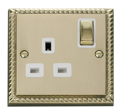 Georgian Cast Brass 1 Gang 13A DP Ingot Switched Plug Socket - White Trim