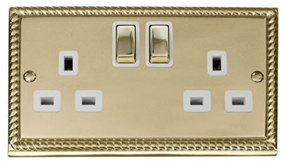 Georgian Cast Brass 2 Gang 13A DP Ingot Twin Double Switched Plug Socket - White Trim