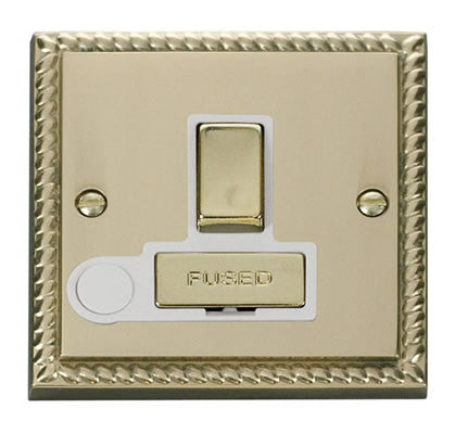 Georgian Cast Brass 13A Fused Ingot Connection Unit Switched With Flex - White Trim