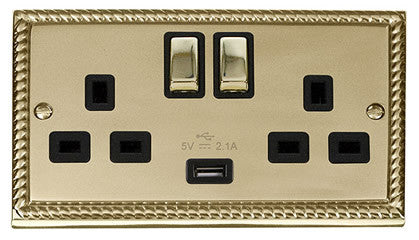 Georgian Cast Brass 2 Gang 13A 1 USB DP Ingot Twin Double Switched Plug Socket - Black Trim