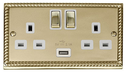 Georgian Cast Brass 2 Gang 13A 1 USB DP Ingot Twin Double Switched Plug Socket - White Trim