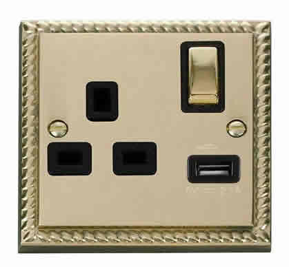 Georgian Cast Brass 1 Gang 13A DP Ingot 1 USB Switched Plug Socket - Black Trim