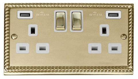 Georgian Cast Brass 2 Gang 13A 2 USB DP Ingot Twin Double Switched Plug Socket - White Trim