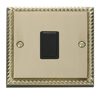 Georgian Cast Brass 1 Gang 20A DP Switch - Black Trim