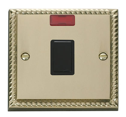 Georgian Cast Brass 1 Gang 20A DP Switch With Neon - Black Trim