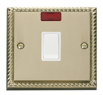 Georgian Cast Brass 1 Gang 20A DP Switch With Neon - White Trim