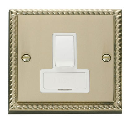 Georgian Cast Brass 13A Fused Connection Unit Switched - White Trim