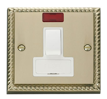 Georgian Cast Brass 13A Fused Connection Unit Switched With Neon - White Trim