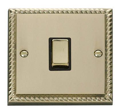 Georgian Cast Brass 1 Gang 20A Ingot DP Switch - Black Trim