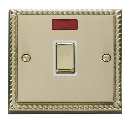 Georgian Cast Brass 1 Gang 20A Ingot DP Switch With Neon - White Trim