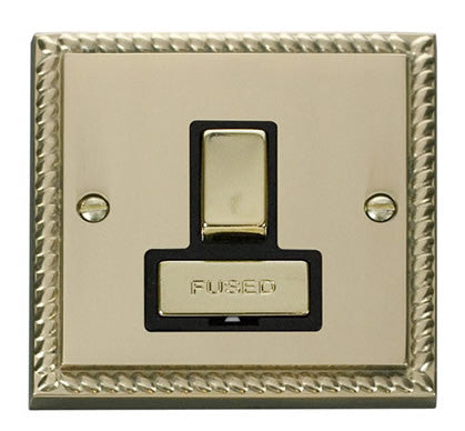 Georgian Cast Brass 13A Fused Ingot Connection Unit Switched - Black Trim