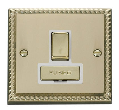 Georgian Cast Brass 13A Fused Ingot Connection Unit Switched - White Trim