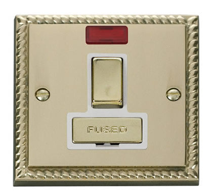 Georgian Cast Brass 13A Fused Ingot Connection Unit Switched With Neon - White Trim
