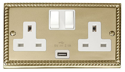 Georgian Cast Brass 2 Gang 13A 1 USB Twin Double Switched Plug Socket - White Trim