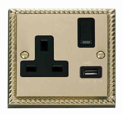 Georgian Cast Brass 1 Gang 13A DP 1 USB Switched Plug Socket - Black Trim