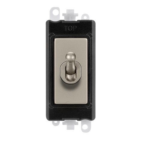 Gridpro Pearl Nickel 20A 2 Way Toggle Light Switch Module - Black Trim