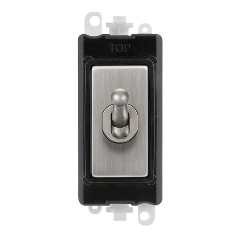 Gridpro Stainless Steel 20A 2 Way Toggle Light Switch Module - Black Trim