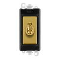 Gridpro Polished Brass 20A Intermediate Toggle Light Switch Module - Black Trim