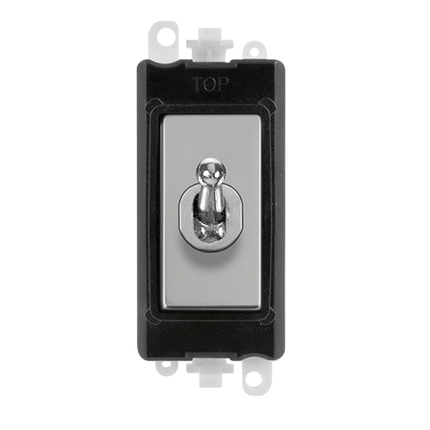 Gridpro Polished Chrome 20A Intermediate Toggle Light Switch Module - Black Trim
