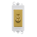 Gridpro Polished Brass 20A Intermediate Toggle Light Switch Module - White Trim
