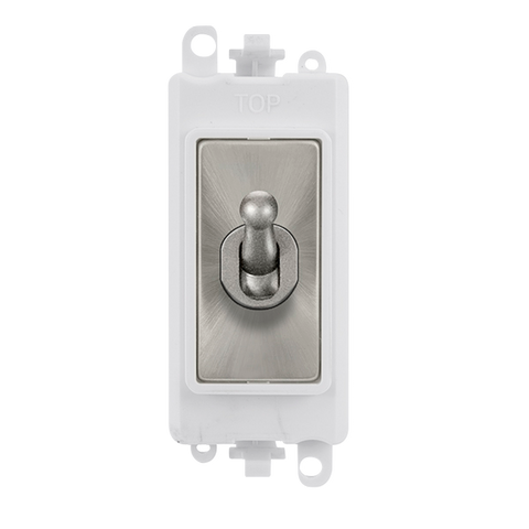 Gridpro Satin Chrome 20A Intermediate Toggle Light Switch Module - White Trim