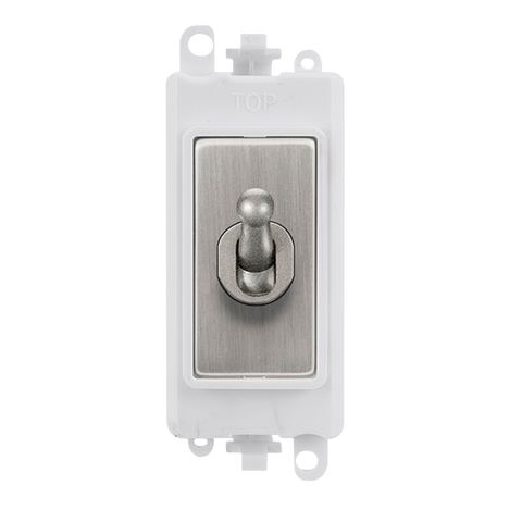 Gridpro Stainless Steel 20A Intermediate Toggle Light Switch Module - White Trim