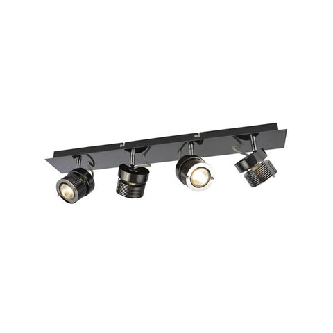 Inlight Pedro Quad Bar GU10 Indoor Spotlight Black Chrome Steel