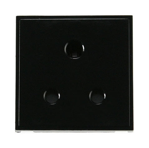 5A Round Pin New Media Socket - Black