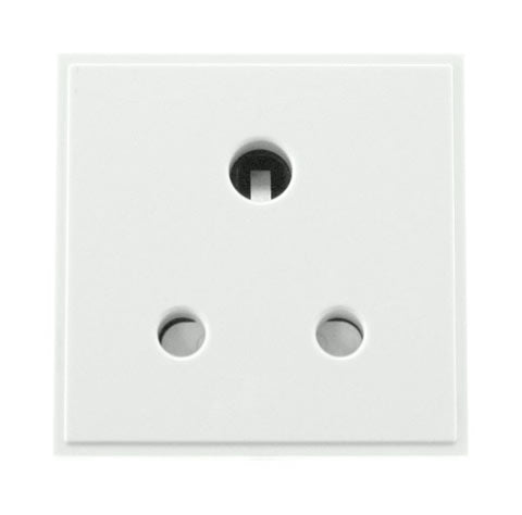 5A Round Pin New Media Socket - White