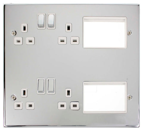 4 X 13A DP Switched Sockets Polished Chrome New Media Plate White Insert