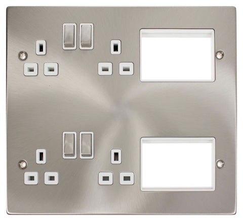 4 X 13A DP Switched Sockets Satin Chrome New Media Plate White Insert