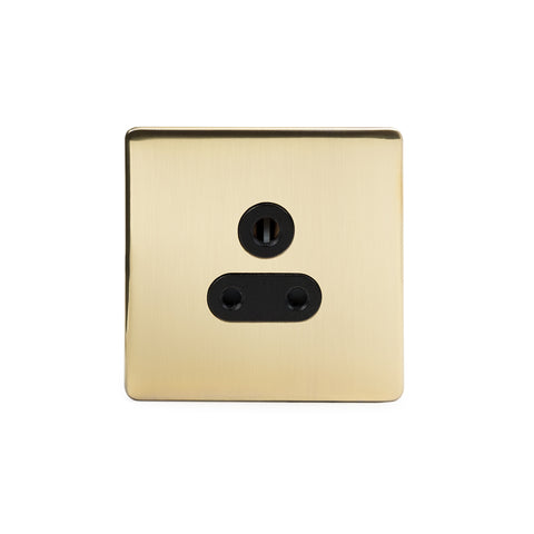 Screwless Brushed Brass 5 Amp Socket Black Trim Unswitched