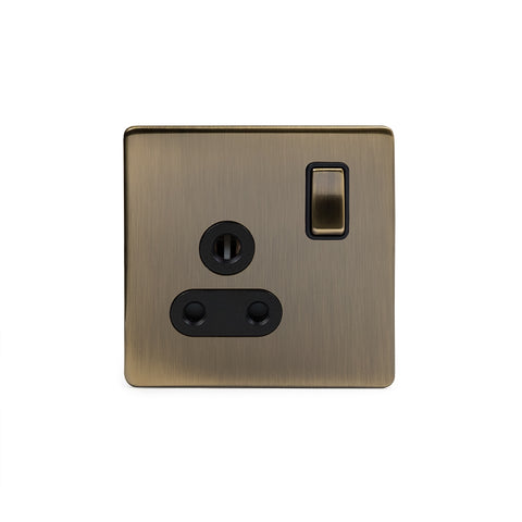 Screwless Antique Brass 5 Amp Plug Socket with Switch Black Ins