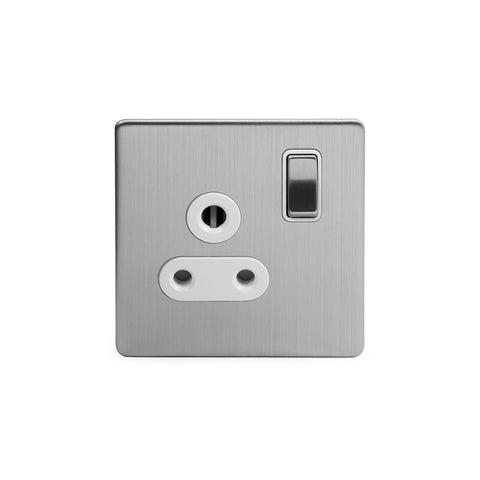 Screwless Brushed Chrome 5a Plug Socket with Switch