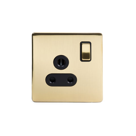 Screwless Brushed Brass 5 Amp Socket with Switch Black Trim