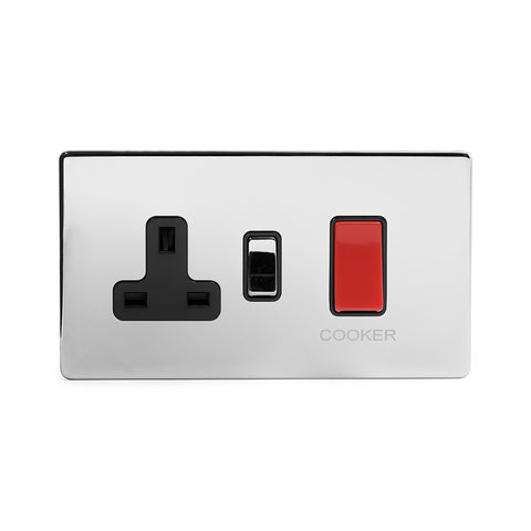 Screwless Polished Chrome  45A Cooker control with Socket Light Switch