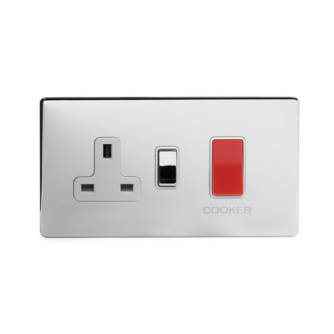 Screwless Polished Chrome  45A Cooker control with Socket