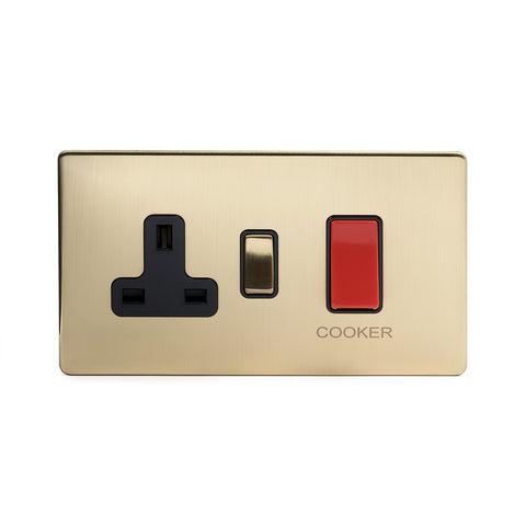 Screwless Brushed Brass  45A Cooker control with Socket