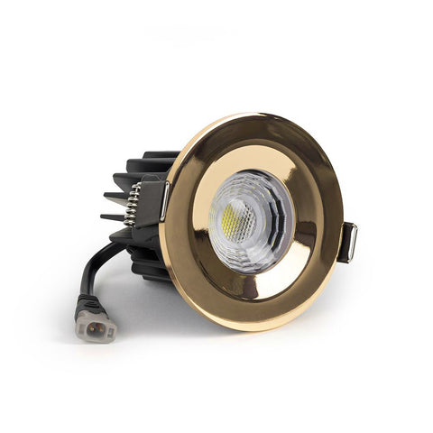Polished Brass CCT Fire Rated LED Dimmable 10W IP65 Downlight